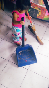 She's doing her own clean up. :-)