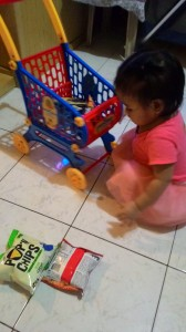 She raided daddy's snack bin!