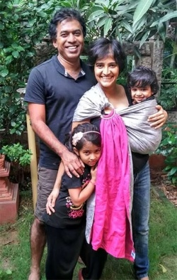 Ravindra and Chinmayie with their children (photo from the Soul Slings website)