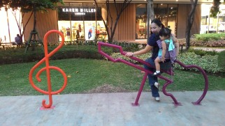 Goofing around at the bicycle stands