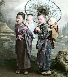 Colored Print of Babywearing Japanese